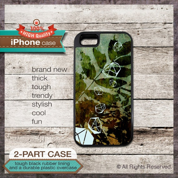 Leaf diamond on art paint design - iPhone Case Accessory - Cover 117 - - iPhone 6, 6+, 5 5S, 5C, 4 4S, Samsung Galaxy S3, S4