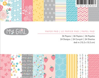 "American Crafts My Girl Collection, 6"" X 6"" paper pad"