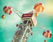 "Funfair, Sky Ride, Nursery, 8"" x 8"" photograph, Lomo, Wall Art, Home Decor. - Fizzstudio"