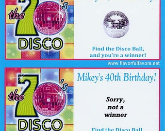 Retro 70's Disco party favors scratch off tickets-set of 10