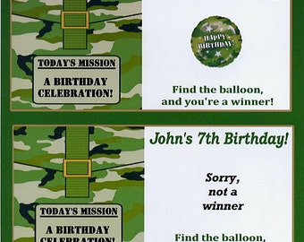Army camouflage party favors scratch off tickets -set of 10