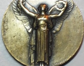 Antique Art Nouveau Victory Angel of World War I Bronze Art Pendant Medal
