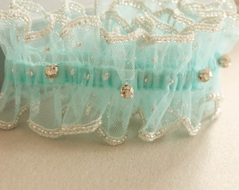 Wedding Garter in Blue   - Due drop crystal (Made to Order)