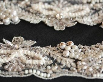Vintage inspired Bridal Dress Sash -  Ronce  (Made to Order)