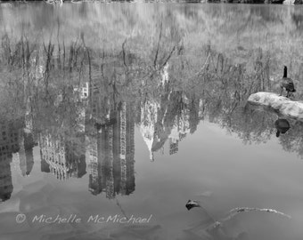 "Central Park, New York Photography, 8x10 Fine Art Print, black and white, ""Reflections"", buildings, home decor"