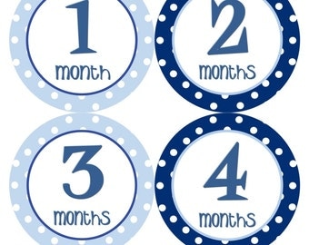 Monthly Stickers Boy Baby Month Stickers Navy Blue Baby Stickers Monthly Boy Stickers Baby Shower Gift and Photo Prop - Thomas