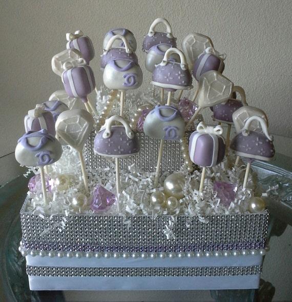 Lavender Rhinestone Cake Pop Display Stand By