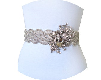 JACQUELINE - Ultra Glorious Luxe Bridal Couture Crystal Rhinestone Sash, Rhinestone Wedding Belt, Bridal Bead Belt, Wedding Sash