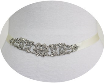 TRISHA - Vintage Inspired Crystal Bridal Sash, Rhinestone Wedding Belt, Bridal Beaded Belt, Victorian Sashes