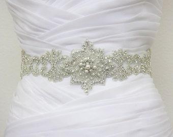 GENEVA - Bridal Crystal Rhinestone And Pearls Sash, Rhinestone Bridal Belt, Wedding Beaded Sash, Rhinestone Wedding Belts