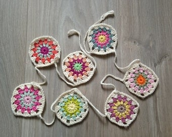 Crochet flags Garland/crochet bunting