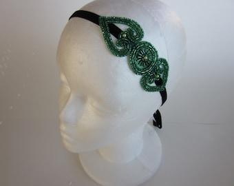 Headpieces Fascinator headband, Serre tete, green wedding headpiece mariage 1920s flapper dress gotham city style