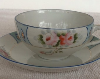 REDUCED-Antique china cup and saucer, Made in Nippon