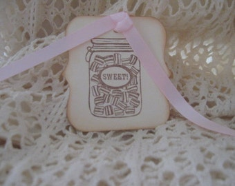 Hand Made Hand Stamped Sweet Gift Tags,Party Favor Tags, Hang Tags, Journal Tags