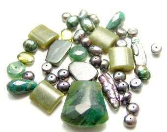Siberian Jade, Amazonite, Pearl Bead Set 1117