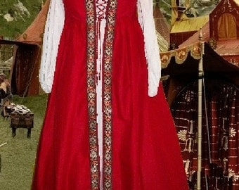 FREE SHIP r Renaissance Gown SCA Garb Medieval Costume Blood Red Floral Irish Styl Overdress SzFlex lxl