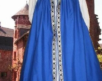 FREE SHIP Celtic Irish Style Medieval Gown Renaissance SCA Garb Royal Blue Overdress lxl