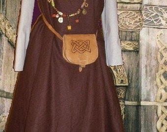FREE SHIP Norse Viking Apron Kirtle SCA Garb Medieval Costume Choco Linen Ivory Cotton lxl