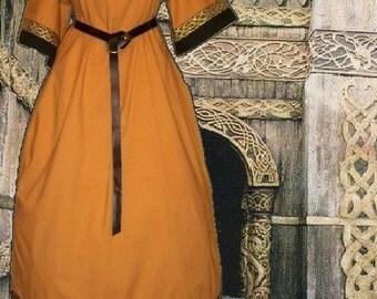 SCA Garb Tunic Gown Medieval Mead Midnight Cotton Renaissance Costume Size Flex L XL