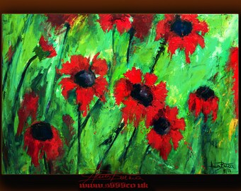 ART PAINTING ABSTRACT Acrylic Original Painting Contemporary Modern Heavy textured  Red Flowers Ready to Hang landscape art by Anna Bulka