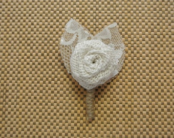Burlap Boutonniere, Burlap and Lace Boutonniere,Burlap with Lace Boutonniere,Oyster Burlap Boutonniere- Rustic Outdoor Vintage wedding decor