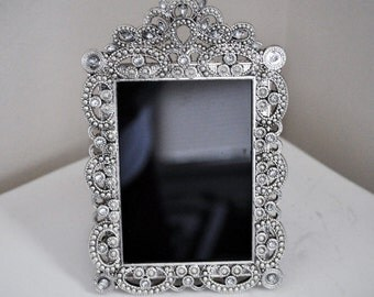 Rhinestone Black Gypsy Scrying Mirror for Divination, Vision Quest, Wicca