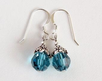 Indicolite Earrings, Blue Crystal Earrings, Sterling Silver Earwires