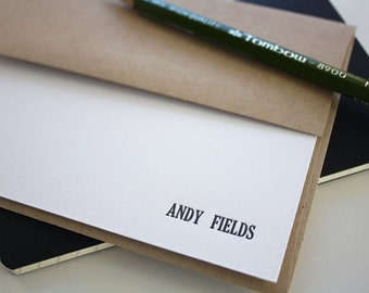 Men's Valentines Gift - Landscape Corner Name - Set of 25 Letterpress Cards