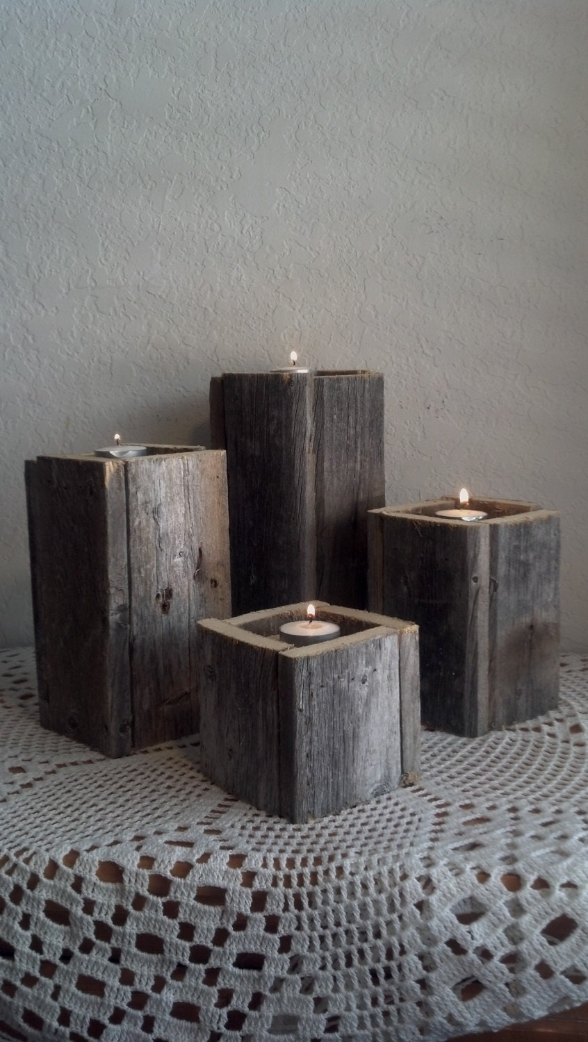 Rustic wooden candle holders