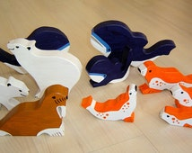 pdf patterns / tutorial for 10 different wooden animals in Waldorf style, DIY - polar bear, whale, walrus, seal