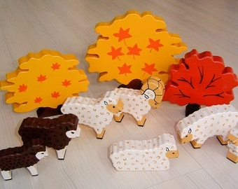pdf patterns / tutorial for 10 different wooden animals in Waldorf style, DIY - sheep, lamb, fall, autumn, tree, marple
