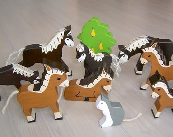 pdf patterns / tutorial for 10 different wooden animals in Waldorf style, DIY- horse, donkey, cat, tree