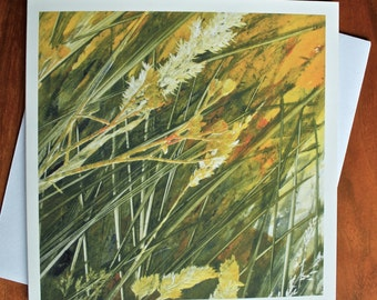 Breeze V - Blank Greeting Card from an Original Monotype Print