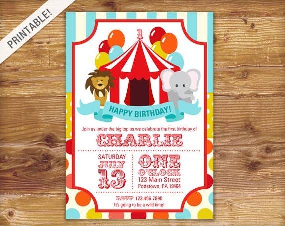 First Birthday Carnival Invite Circus Invitation Carnival
