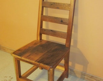 BARNWOOD DINING CHAIR   Barnwood Ladder Back Dining Chair   Reclaimed Wood  Chair