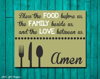 Dinner Blessing. Bless the Food. Family Blessings Wall Decor. Dining Room Wall Art. Christian Wall Decor. Kitchen Art. Christian Home Decor.