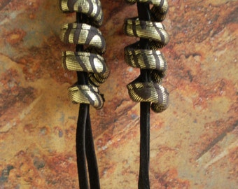 Leather Earrings...Curl and Tassel.... in recycled leather.