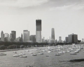 Vintage 1970's Chicago Skyline, Monroe Harbor Construction Snapshot Photo - Free Shipping