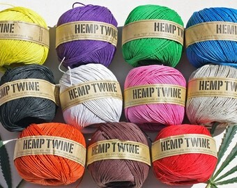 Hemp twine, Hemp cord, Ideal for macrame, crafts & jewellery .6 Strand - 24LB BS  (430ft) 130 Metre x 1MM Thick
