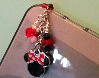 Minnie Mouse cell phone charm, dust plug charm
