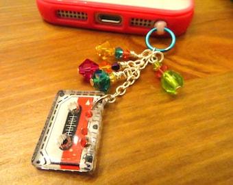 Retro '80s-'90s cassette cell phone charm, dust plug charm