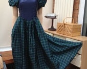 vintage TARTAN plaid maxi evening gown , bow bustle, quirky 1980s , uk size 10