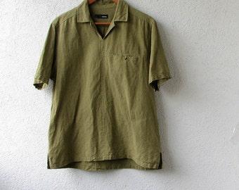 Vintage Linen Shirt, Khaki Green Utility Blouse in military style, Size Medium Large