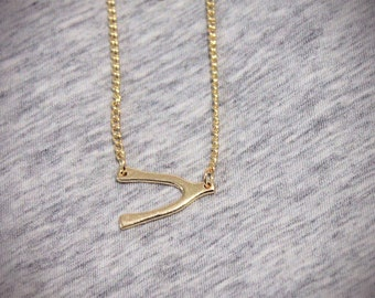 Clearance SALE Gold Wishbone Wishbone Necklace Sideways Wishbone Pendant Necklace in Gold or Silver Tone Necklace