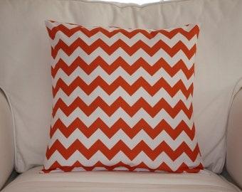 Orange Chevron Pillow Cover for Throw Pillow 16 x 16