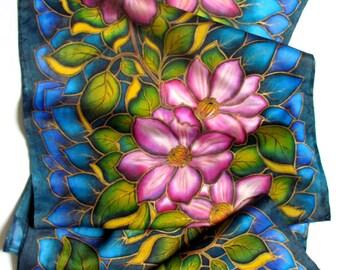 "Hand painted Silk scarf. Hand painted Silk scarf 'Clematis"".  Hand painted silk flowers scarf. Made to order."