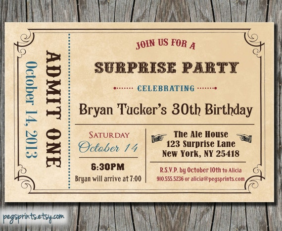 Adult Surprise Birthday Invite - Admit One Ticket (Printable)