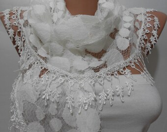 Lace Scarf White Scarf Women Fashion Accessories Lightweight Spring Summer Scarf Christmas Gift For Her Gift For Women White Wedding Scarf