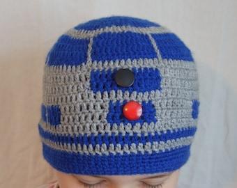 star wars R2D2 inspired crochet handmade beanie hat
