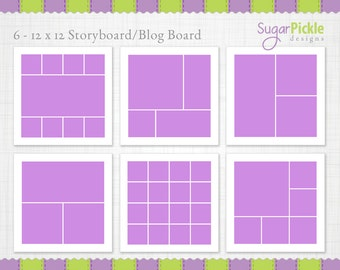 12x12 Storyboard Template, Digital Collage, Blog Boards for Photographers, collage template, photo template, Photographer, INSTANT DOWNLOAD
